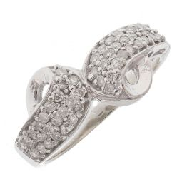 Pre-owned 18ct White Gold Fancy Diamond Ring - Size K 1/2
