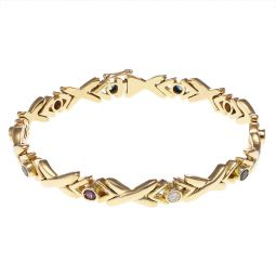 Pre-owned Yellow Gold Kiss Gemstone Bracelet - 7.5 Inches - 28g