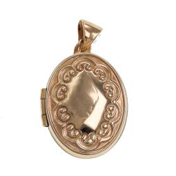 Pre-owned 9ct Gold Locket Oval Shape Pendant