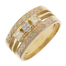 Pre-owned 18ct Yellow Gold Fancy Diamond Ring - 6g - Size K 1/2