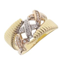 Pre-owned 14ct Multi Colour Gold Kiss Ring - Size N 1/2