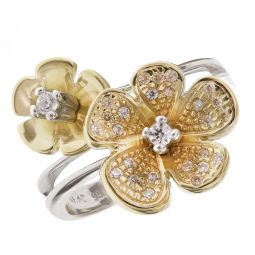 Pre-owned 14ct Yellow & White Gold Fancy Flower Ring - Size N 1/2