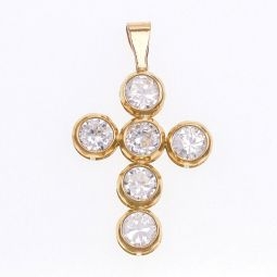 Pre-owned 9ct Gold Cross Gemstone Pendant