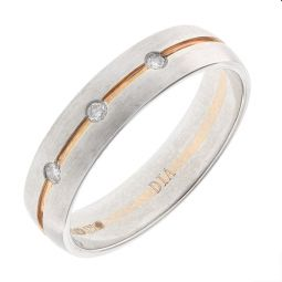 Pre-Owned 9ct White and Rose Gold Diamond Band Ring