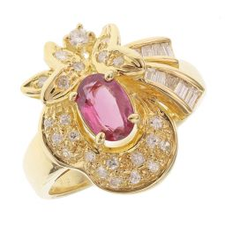 Pre-owned 18ct Yellow Gold Ruby and Diamonds Fancy Dress Ring - 7g - Size K 1/2