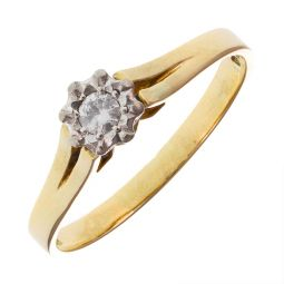 Pre-Owned 18ct Yellow and White Gold Solitaire Split Shank Ring