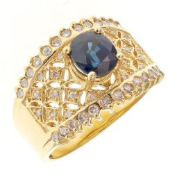 Pre-owned 18ct Yellow Gold Saphire Fancy Dress Ring - Size L 1/2