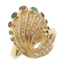 Pre-owned 18ct Yellow Gold Peacock Cocktail Ring - 10g - Size M