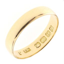 Pre-Owned 18ct Yellow Gold Soft Court Shape Plain Ring