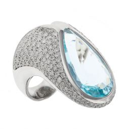 Pre-owned 18ct White Gold Cocktail GAVELLO Ring - Size H
