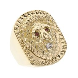 Pre-owned 9ct Yellow Gold Diamond and Ruby Lion Ring - 15g
