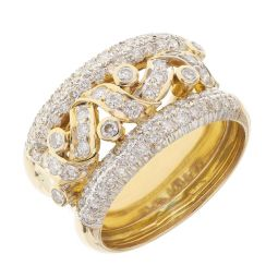 Pre-owned 18ct Yellow Gold 1.30ct Diamond Dress Ring - 10g
