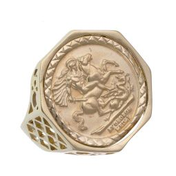 Pre-Owned 9ct Yellow Gold Coin Mount Ring