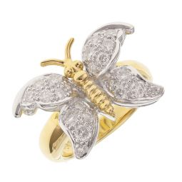 Pre-owned 18ct Yellow Gold Cocktail Buterfly Ring - 10g - Size M