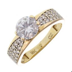Pre-Owned 9ct Yellow Gold Solitaire Shoulder Set Ring
