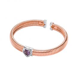 Rose Gold Coated Sterling Silver Bangle Set With Purple Amethyst
