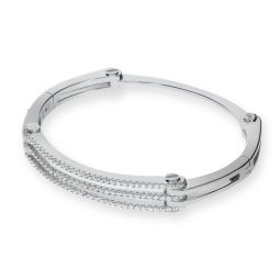 4 piece Sterling Silver Bangle Set With White CZs