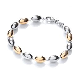 Rhodium & Yellow Gold Coated Bead Silver Bracelet-7""