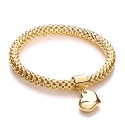"""Yellow Gold Coated Expandable Silver Bracelet-7"""""""