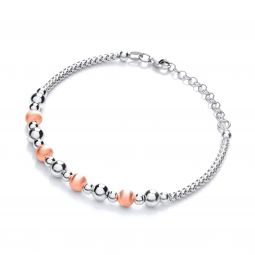 Rhodium & Rose Gold Coated Bead Silver Bracelet-7.5""