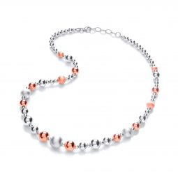 """Two Tone Silver Bead Necklace - 18"""""""