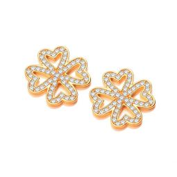 Silver Clover Stud Earrings Set With CZs
