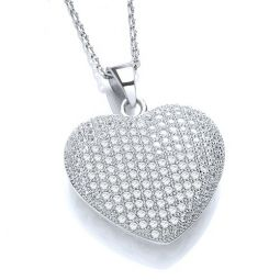 Domed Heart Shape Silver Necklace Set With CZs