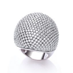 Silver & White CZ Cocktail Ring