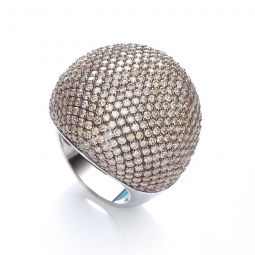 Silver & Champagne CZ Cocktail Ring