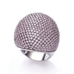 Silver & Pink CZ Cocktail Ring