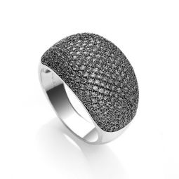 Silver & Black CZ Cocktail Ring