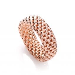 Rose Coated Silver Mesh Ring