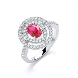 Silver & Red CZ Halo Ring