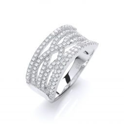 Silver & White CZ Cross Over Ring