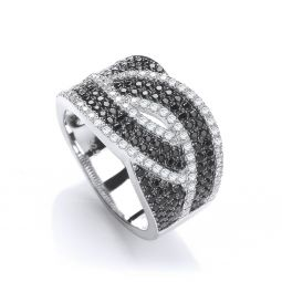 Silver & Black CZ Cross Over Ring