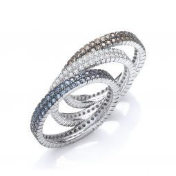 Silver & White, Champagne & Blue CZ Full Eternity Ring
