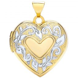 9ct Yellow and White Gold Heart Shaped Family Locket