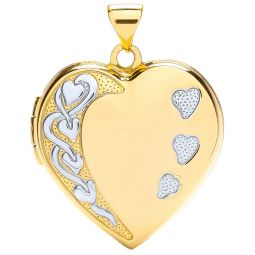 9ct Yellow and White Heart Shaped Family Locket