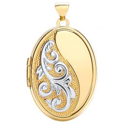 9ct White and Yellow Gold Oval Locket