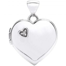 9ct White Gold Heart Shape Locket with Diamond