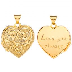 9ct Yellow Gold Heart Double Sided Locket Love You  18.0 x 24.0m