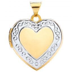 9ct white and Yellow Gold Heart Shape Locket