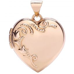 9ct Gold Heart Shape Locket with design