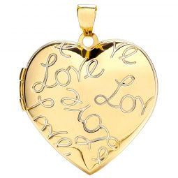 9ct Yellow Gold Heart Shape Locket with Love engraved 24.6 x 30.