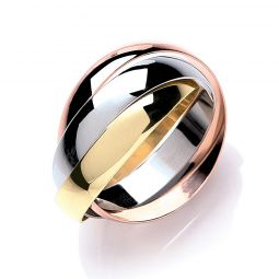 9ct Yellow White and Rose Gold Russian Style 4mm Wedding Bands