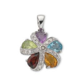 9ct White Gold Diamond and Multi Colour Gems pendants