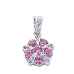 9ct White Gold, Diamond and Pink Sapphire Cluster pendant
