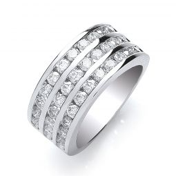 18ct White Gold 3 Rows 1.50cts Diamond Ring