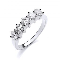 18ct White Gold 1.00ct 5 Stone Diamond Ring