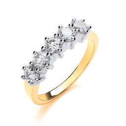 18ct Yellow Gold 1.00cts 5 Stone Diamond Eternity Ring 5mm